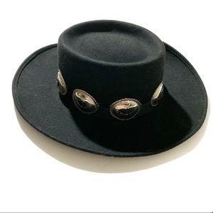 4080962850968d Vintage concho Hat western boho wool black